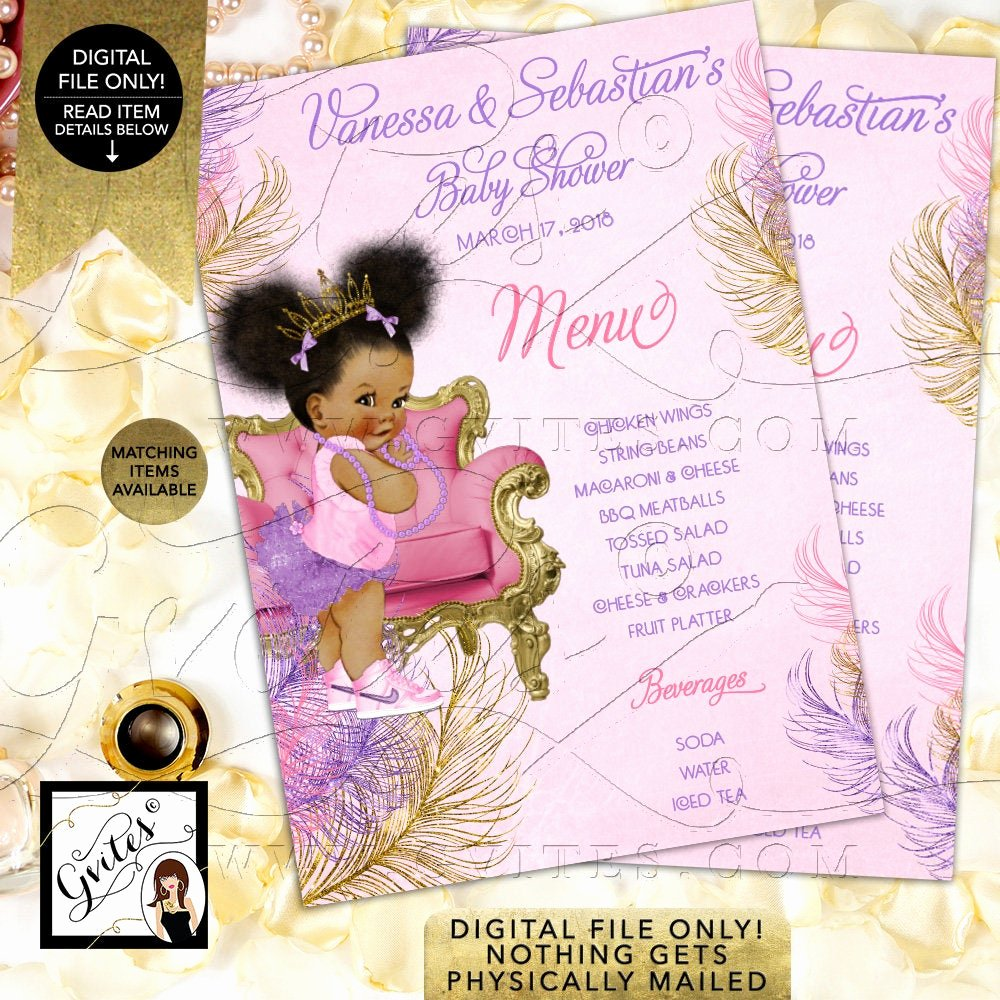 Baby Shower Menu Cards Inspirational Menu Cards Pink Purple Gold Baby Shower Princess Printable Afro Puffs Menus Vintage Baby Girl