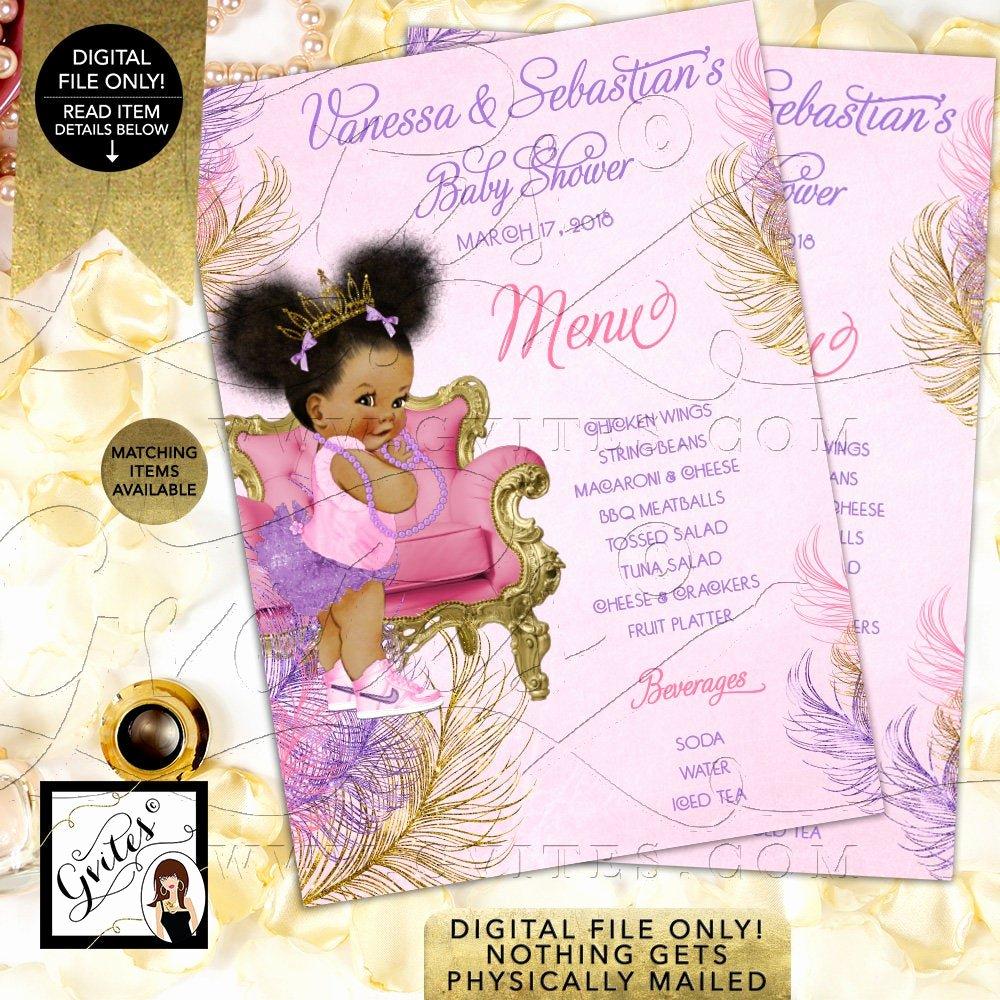 Baby Shower Menu Cards Inspirational Menu Cards Pink Purple Gold Baby Shower Princess Printable Afro Puffs Menus Vintage Baby Girl