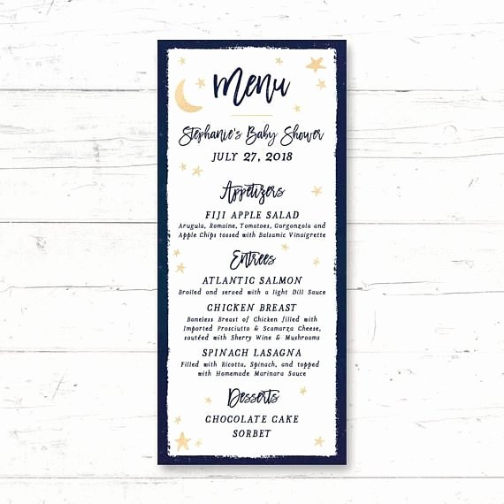 Baby Shower Menu Cards Inspirational Twinkle Twinkle Little Star Printable Menu Card Baby Shower Birthday Party Wedding Night