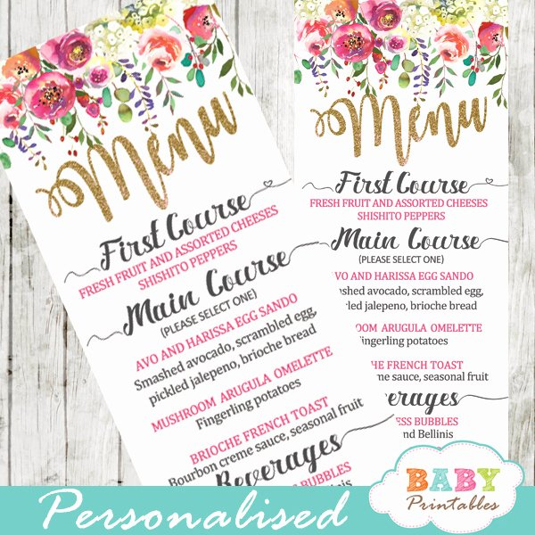 Baby Shower Menu Cards Inspirational Watercolor Flower Garden Baby Shower Food Menu D307 Baby Printables