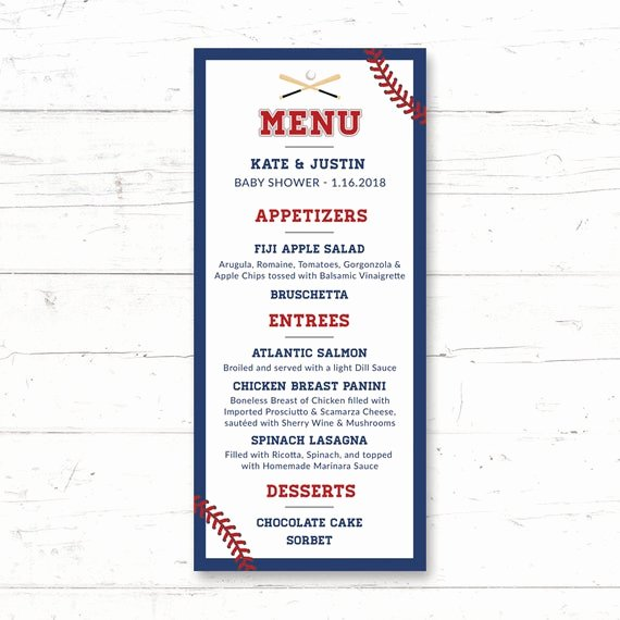 Baby Shower Menu Cards Lovely Baseball Printable Menu Card Wedding Bridal Shower Baby