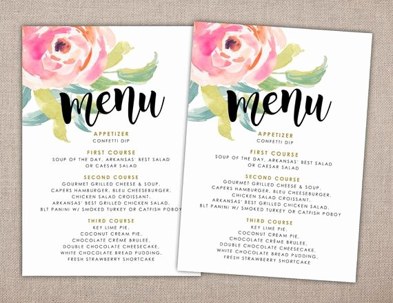Baby Shower Menu Cards Luxury Items Similar to Menu Printable Card Baby Shower Menu Printables Brunch Menu Lunch Menu