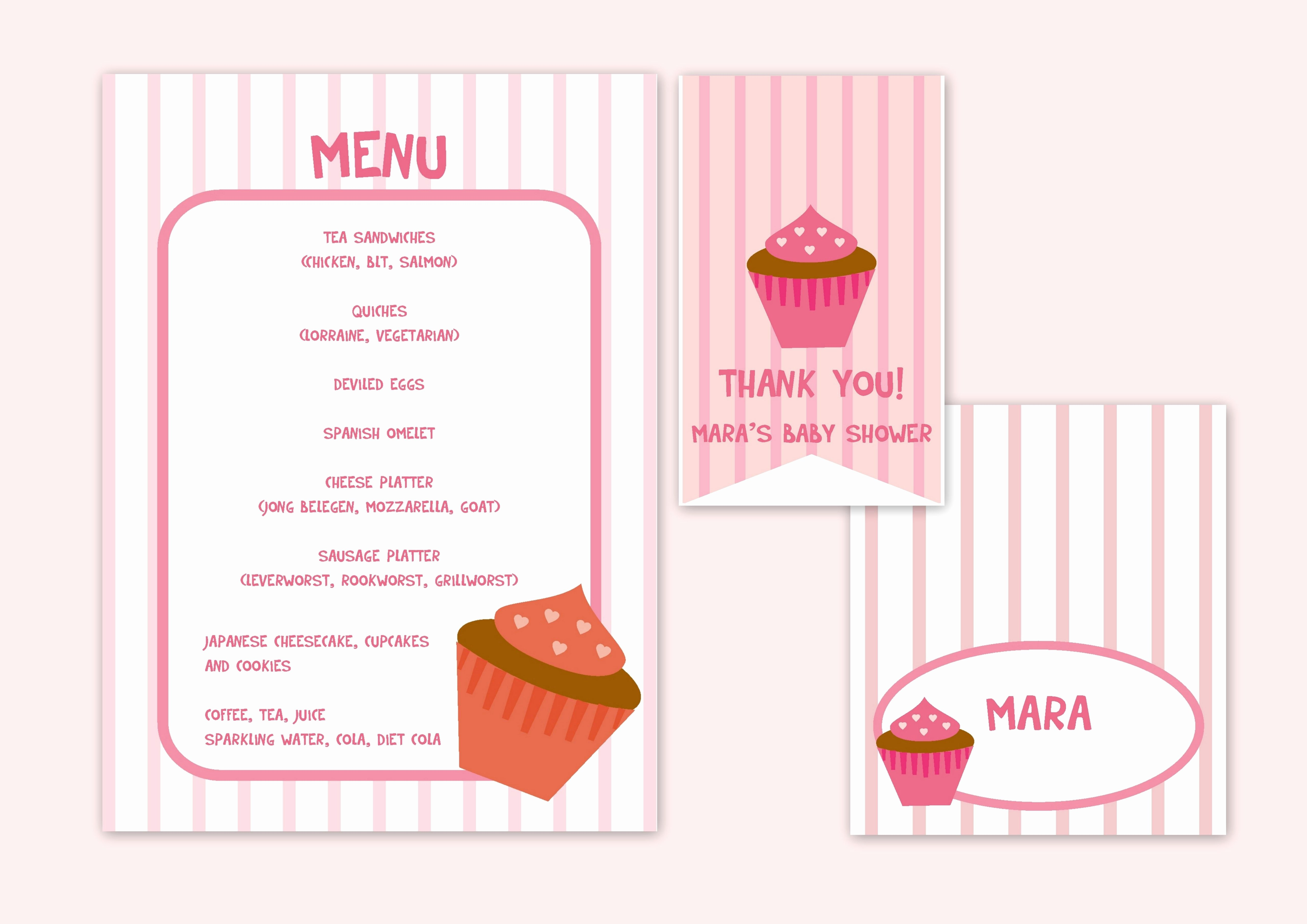 Baby Shower Menu Cards New Cupcake Girl Baby Shower Menu Card Place Card and Favor Tag Products I Love