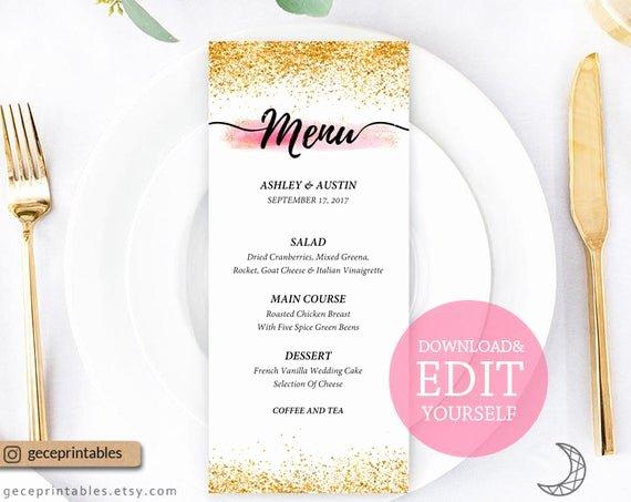 Baby Shower Menu Cards New Editable Menu Template 4x9 Printable Menu Card Wedding Menu Template Baby Shower Menu Pink