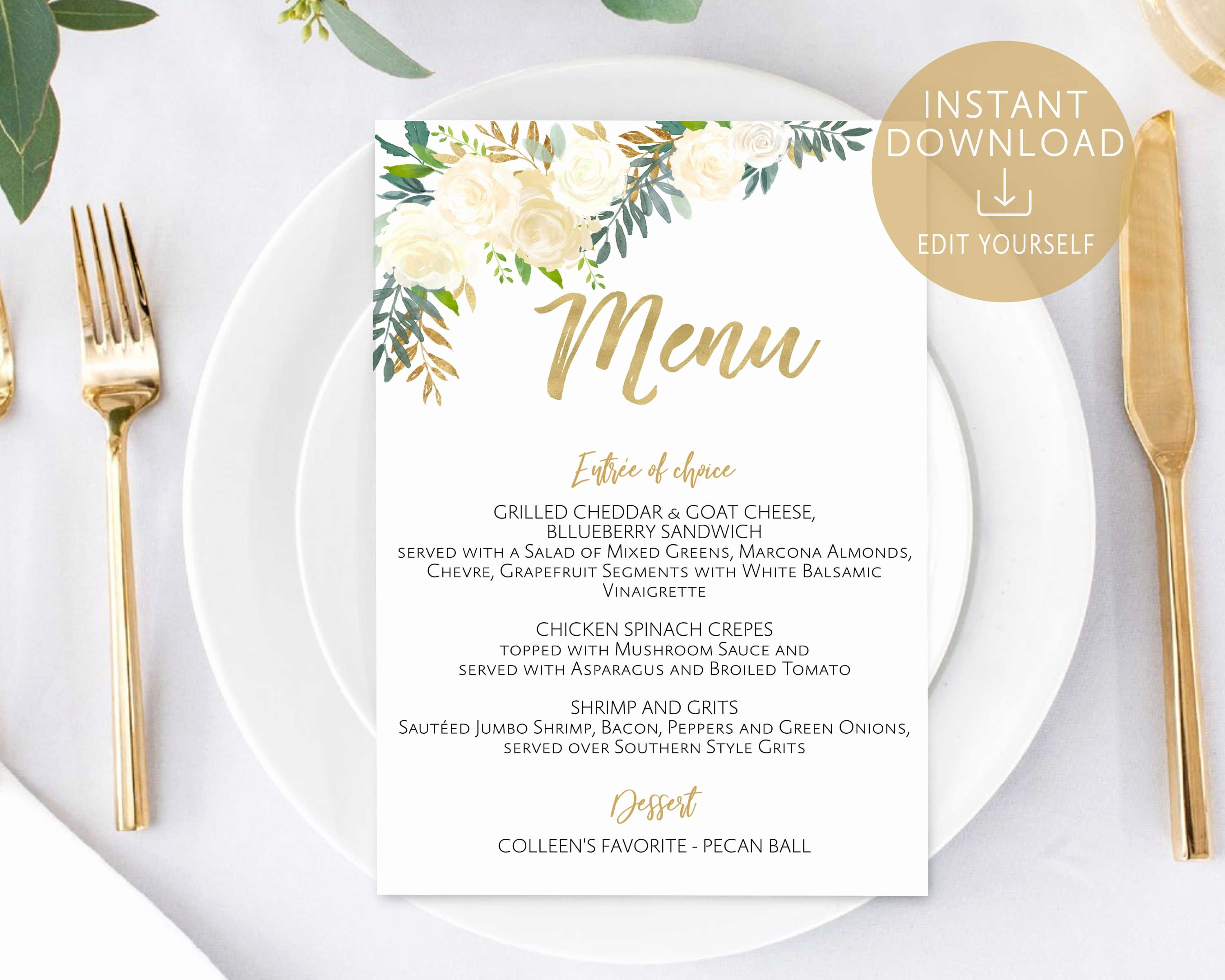 Baby Shower Menu Cards New Menu Template Editable Pdf Bridal Shower Menu Baby Shower Menu Ivory White Gold Watercolor
