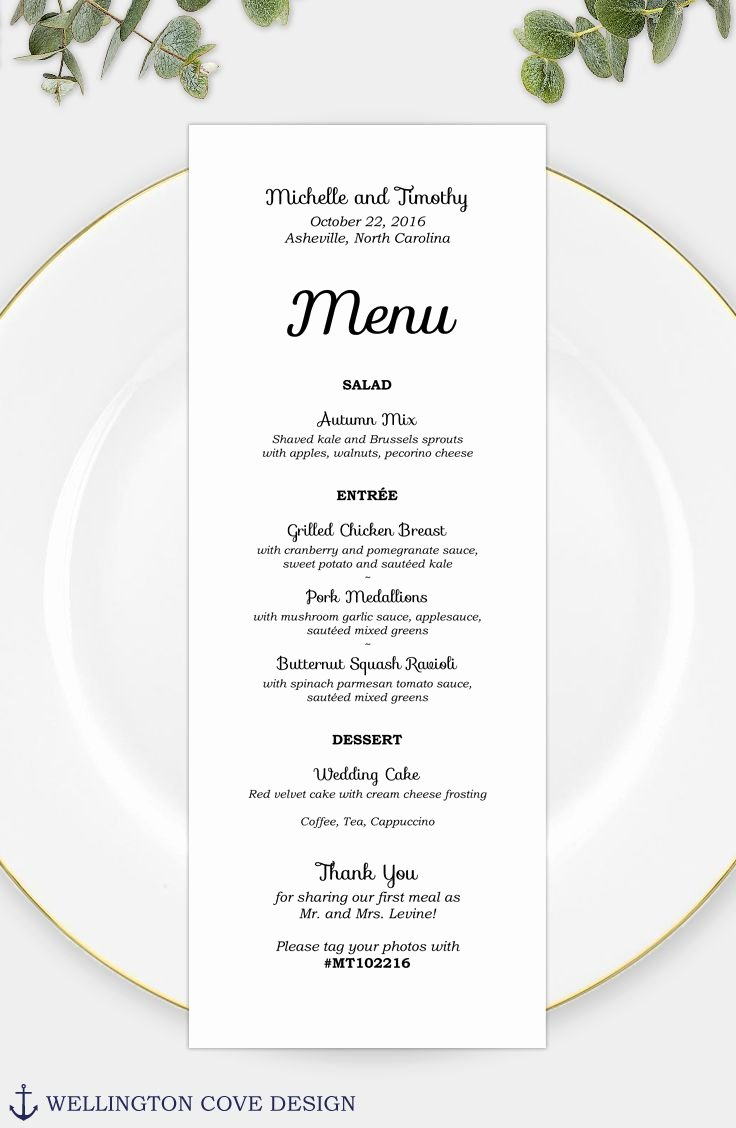 Baby Shower Menu Template Awesome Wedding Menu Template for Microsoft Word • Printable Instant Download • Rehearsal Dinner Menu