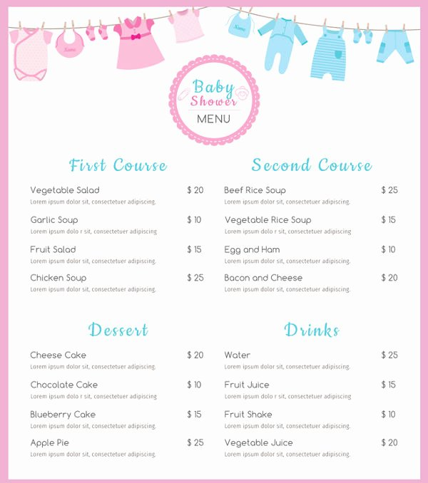 Baby Shower Menu Template Lovely 8 Baby Shower Menu Templates Psd Vector Eps Ai Illustrator Download