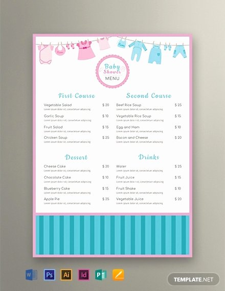 Baby Shower Menu Template Unique Free Baby Shower Menu Template Word Psd Indesign Apple Pages Publisher