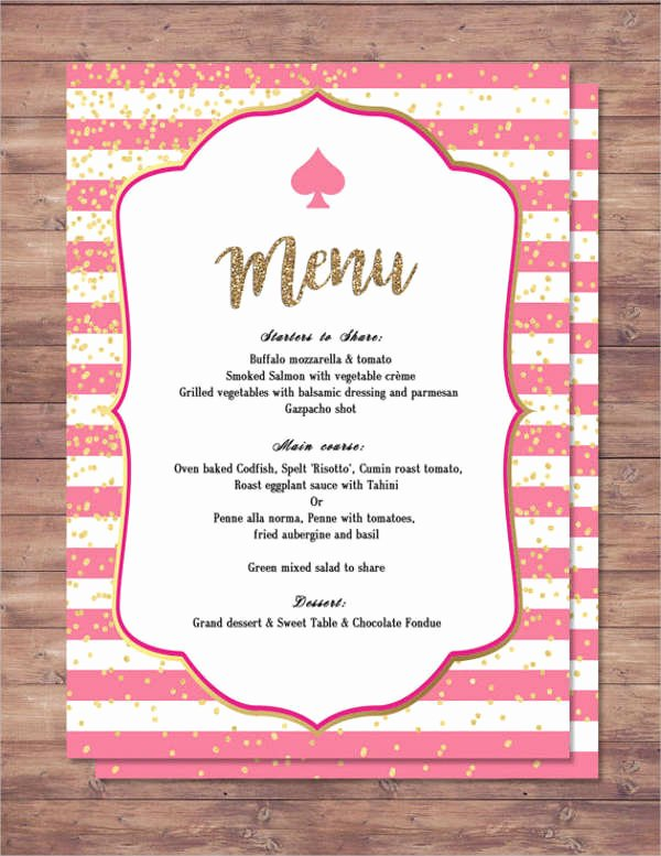 Baby Shower Menu Templates Awesome 25 Party Menu Designs