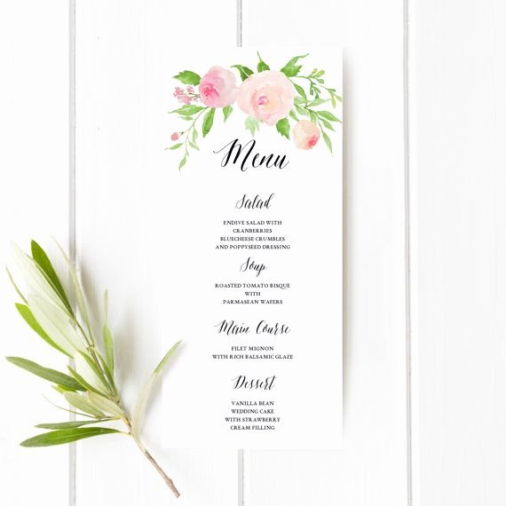Baby Shower Menu Templates Lovely Printable Floral Boho Wedding Menu Template Floral Wedding Menu Card