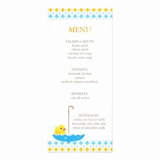 Baby Shower Menu Templates New Rubber Ducky Baby Shower Menu Rack Card
