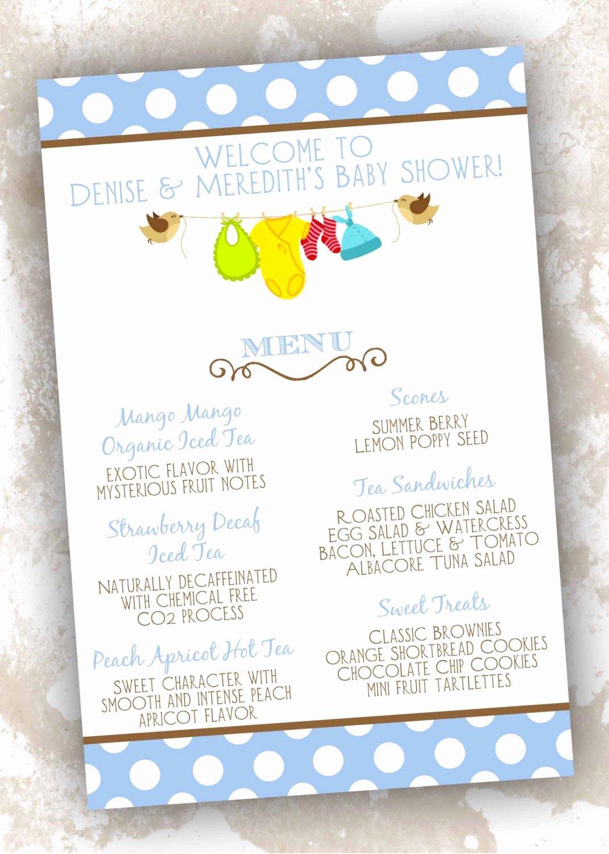 Baby Shower Menu Templates Unique Baby Shower Menu Cards Printable Girl Boy or by Primroseandpark