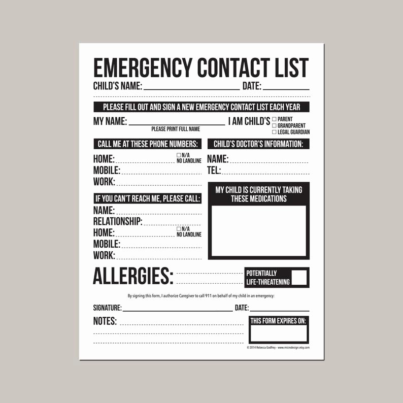 Babysitter Emergency Information Sheet Awesome Emergency Contact form for Nanny Babysitter or Daycare