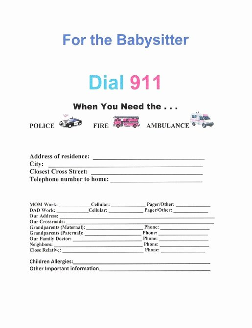 Babysitter Emergency Information Sheet Fresh Free Printable Child Medical Consent form