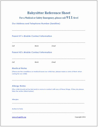Babysitter Emergency Information Sheet Inspirational A Frugal Life Free Printable Babysitter Contact List