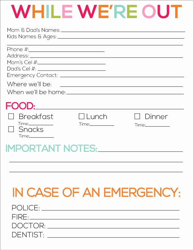 Babysitter Emergency Information Sheet Inspirational Free organization Printables