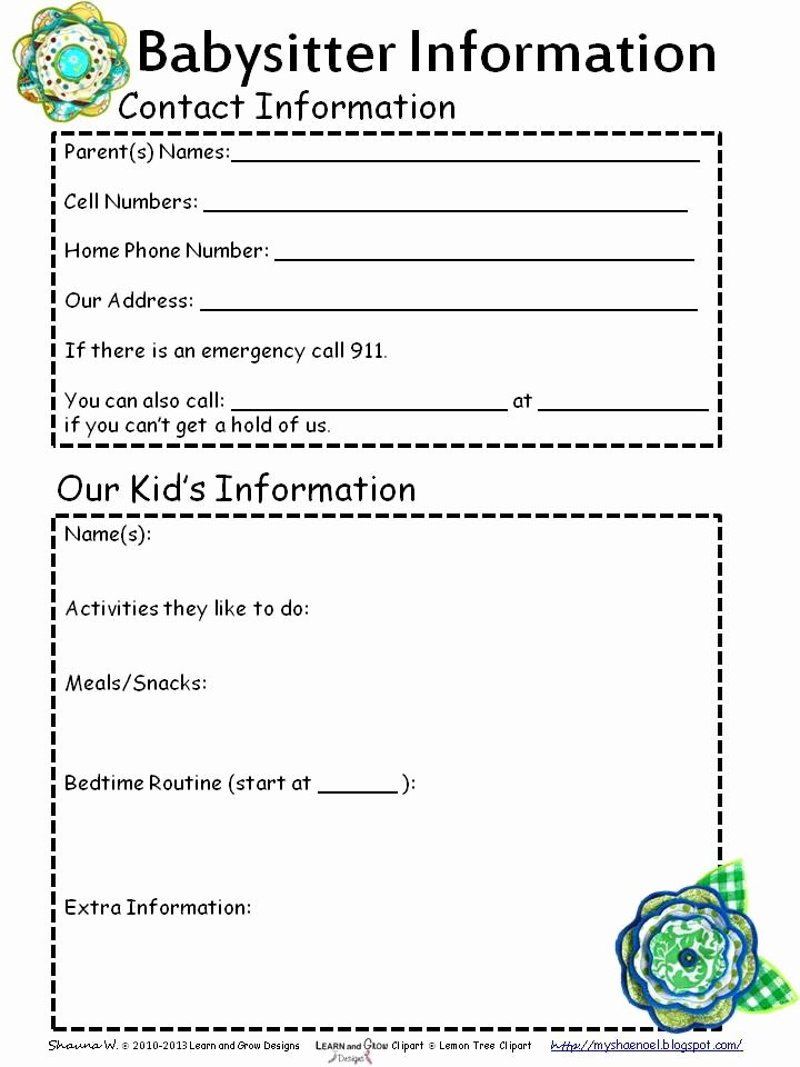 Babysitter Emergency Information Sheet Lovely Learn and Grow Designs Website Free Babysitter Information Printable and Babysitter themed