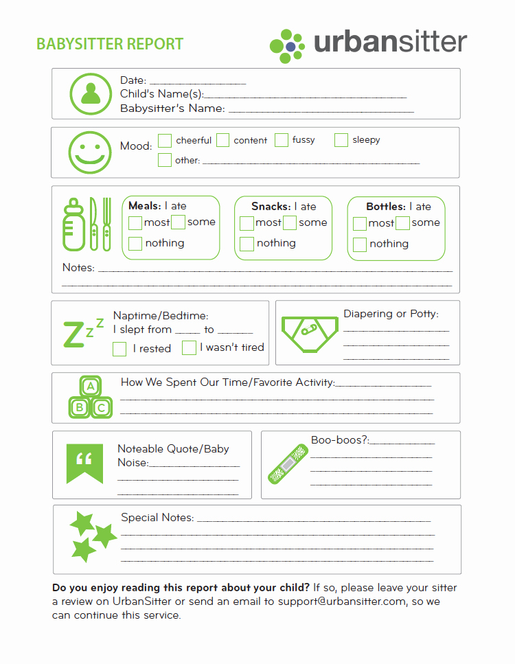 Babysitter Emergency Information Sheet Unique Babysitter Report form Printable Urbansitter