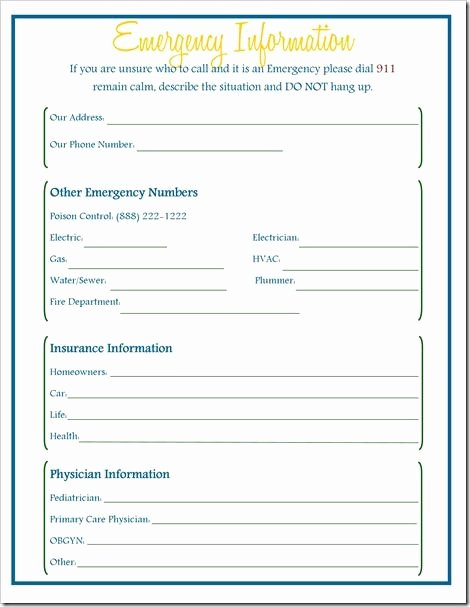 Babysitter Emergency Information Sheet Unique Emergency Information Free Printable Homebinder Homemanagementbinder