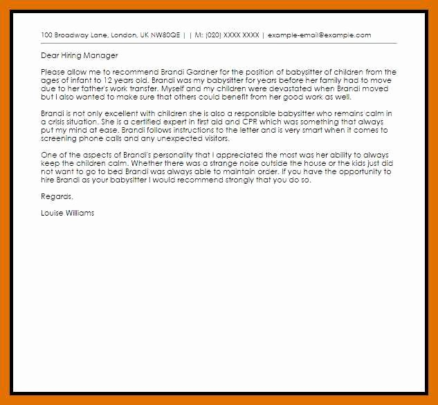 Babysitter Letter Of Recommendation Awesome 5 6 Letter Of Re Mendation for Babysitter