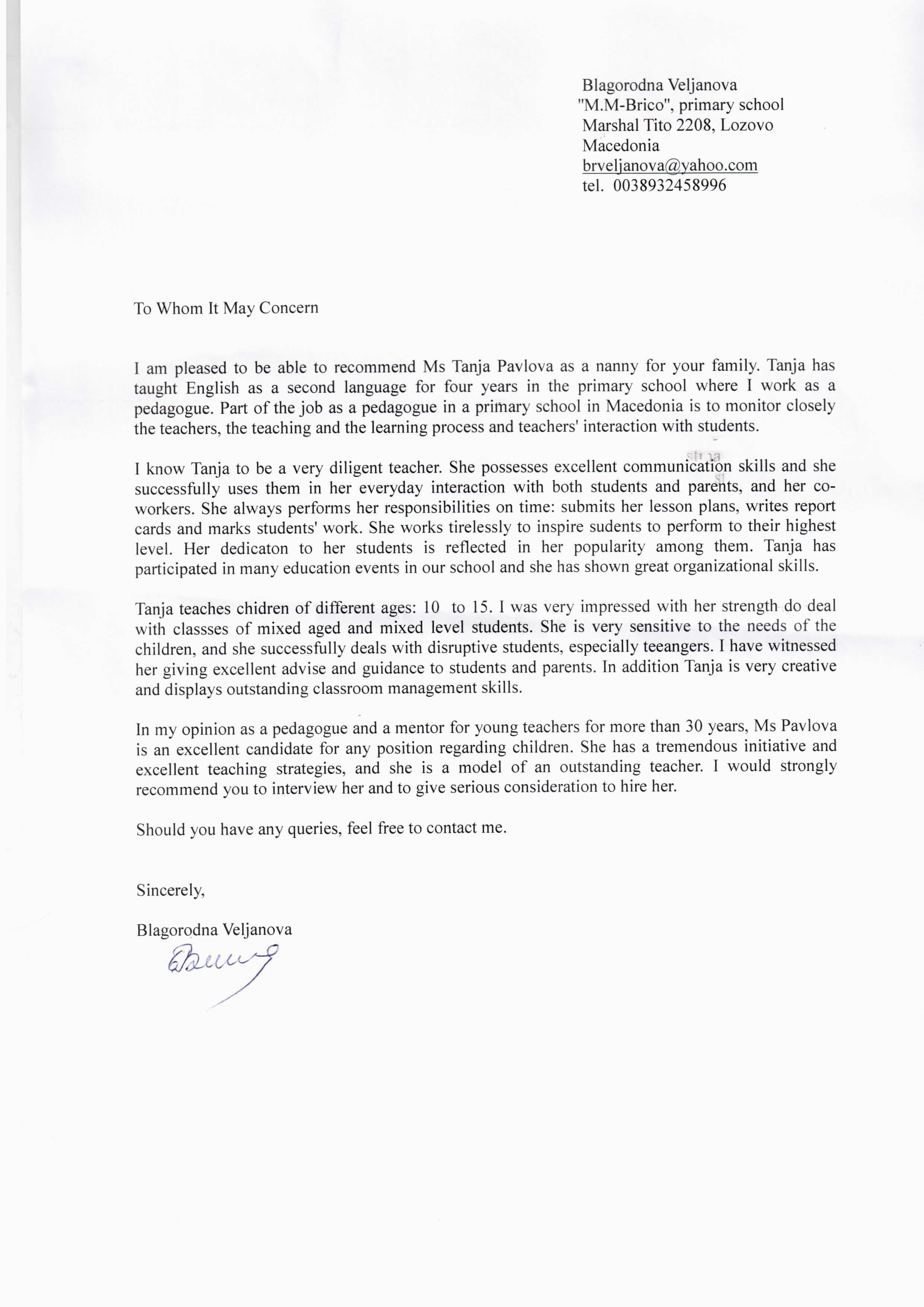 Babysitter Letter Of Recommendation Awesome Reference Letter Nanny Efimorena