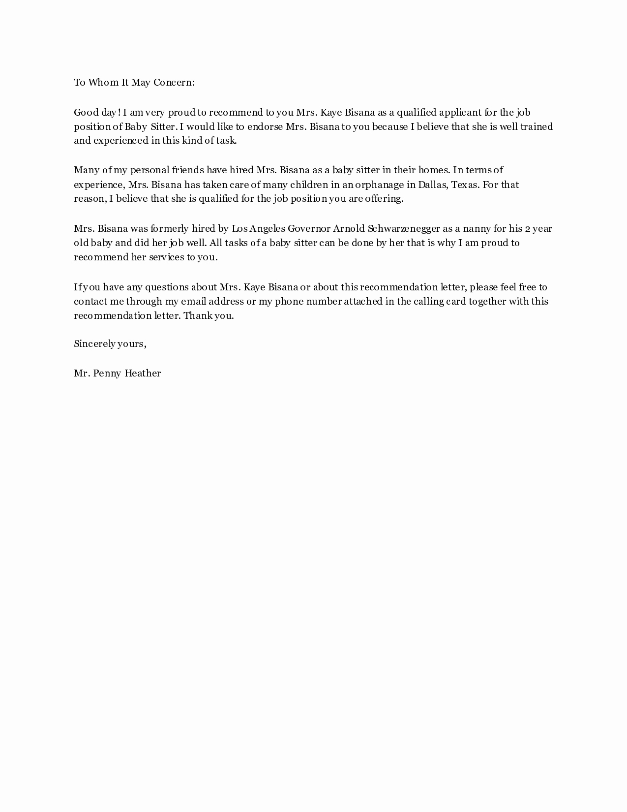 Babysitter Letter Of Recommendation Beautiful Letter Re Mendation for Babysitter