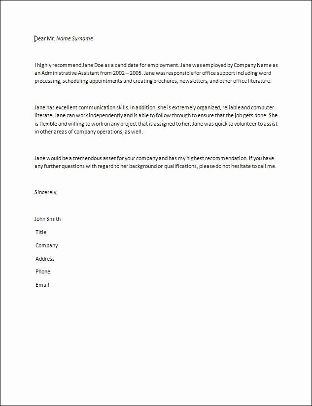Babysitter Letter Of Recommendation Fresh Letter Of Re Mendation Samples