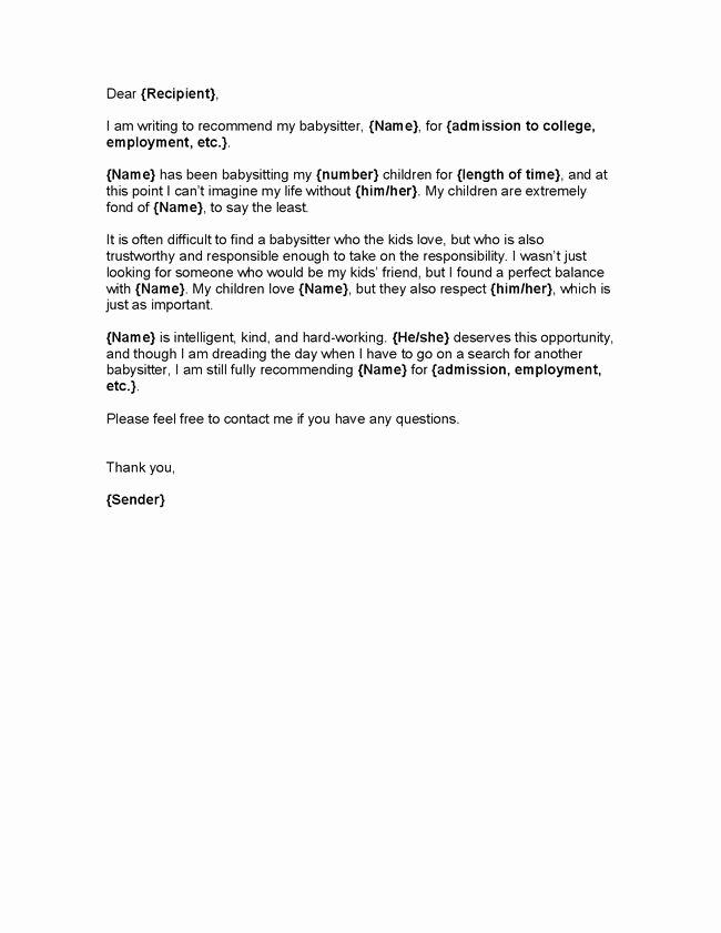 Babysitter Letter Of Recommendation New Nanny Letter Of Re Mendation Letter Of Re Mendation Re Mandation