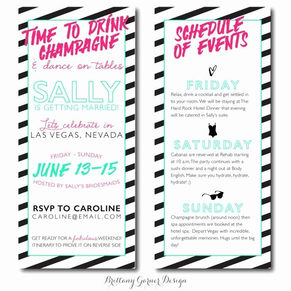 Bachelorette Party Itinerary Template Awesome Bachelorette Party Itinerary Sample