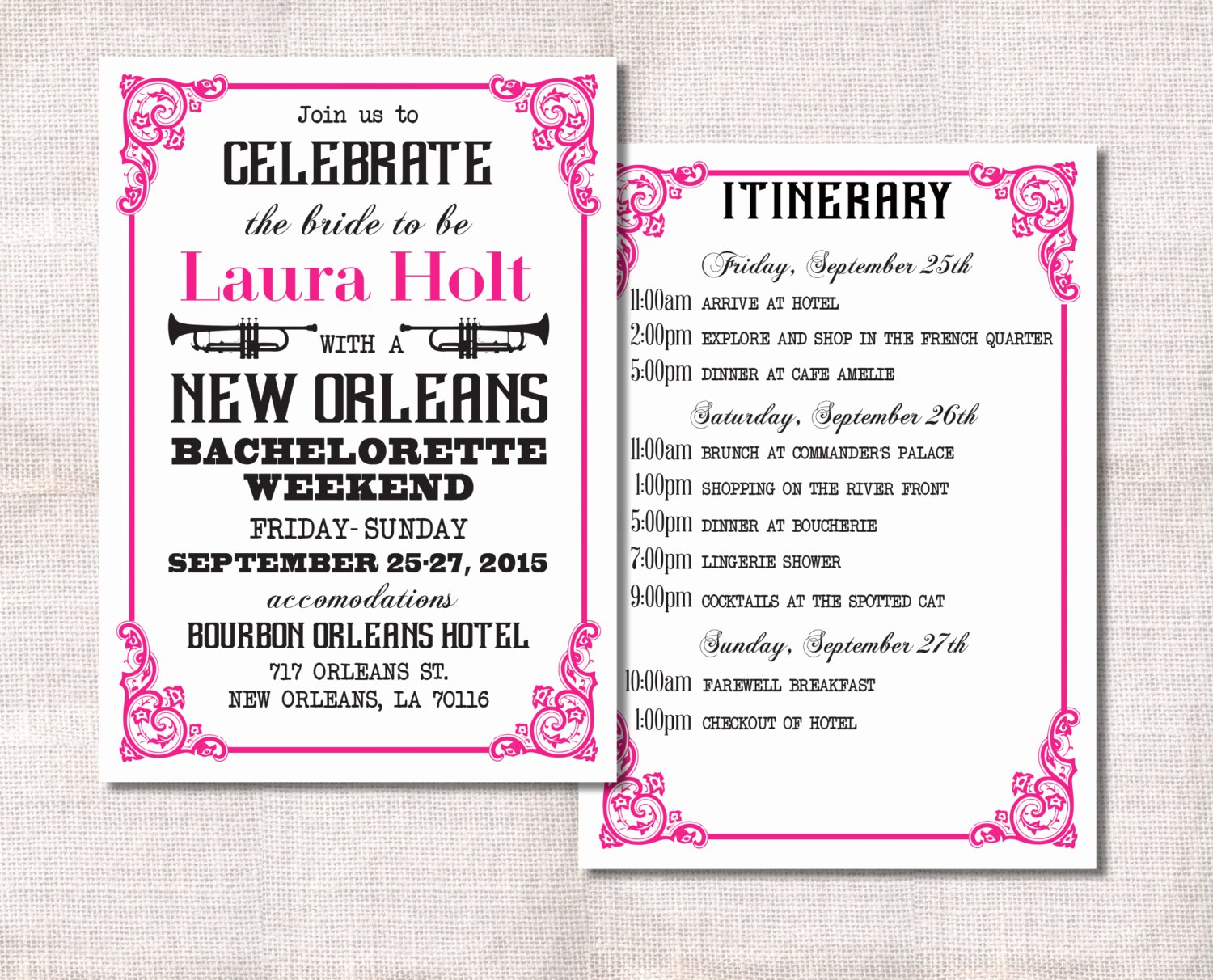 Bachelorette Party Itinerary Template Awesome Bachelorette Party Weekend Invitation and Itinerary Custom