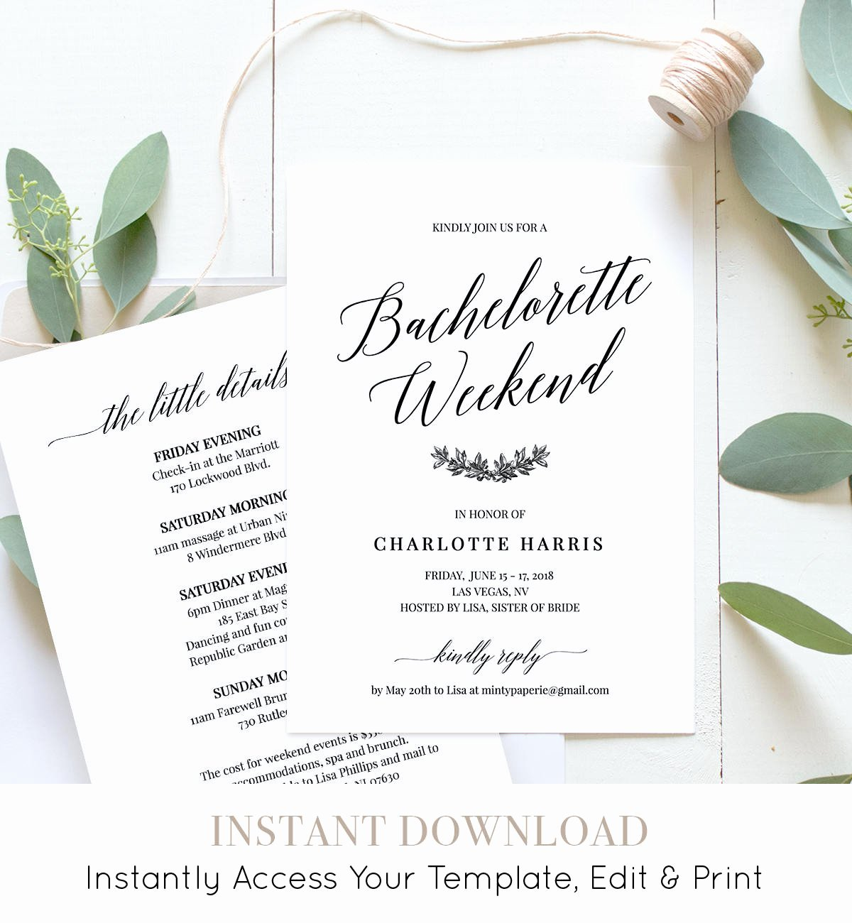 Bachelorette Party Itinerary Template Awesome Bachelorette Party Weekend Invitation Itinerary Agenda Weekend events Editable Template