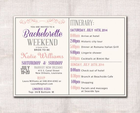 Bachelorette Party Itinerary Template Awesome Bachelorette Party Weekend Invitation Itinerary Bridal Shower Pinterest