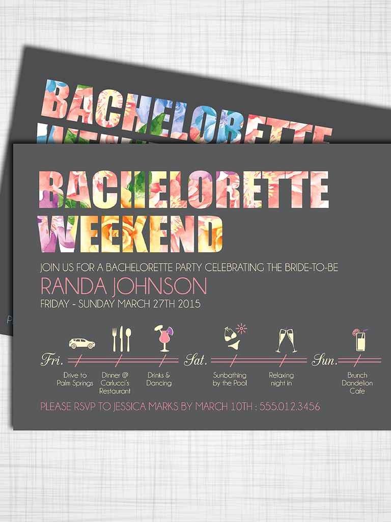 Bachelorette Party Itinerary Template Beautiful 14 Printable Bachelorette Party Invitation Templates