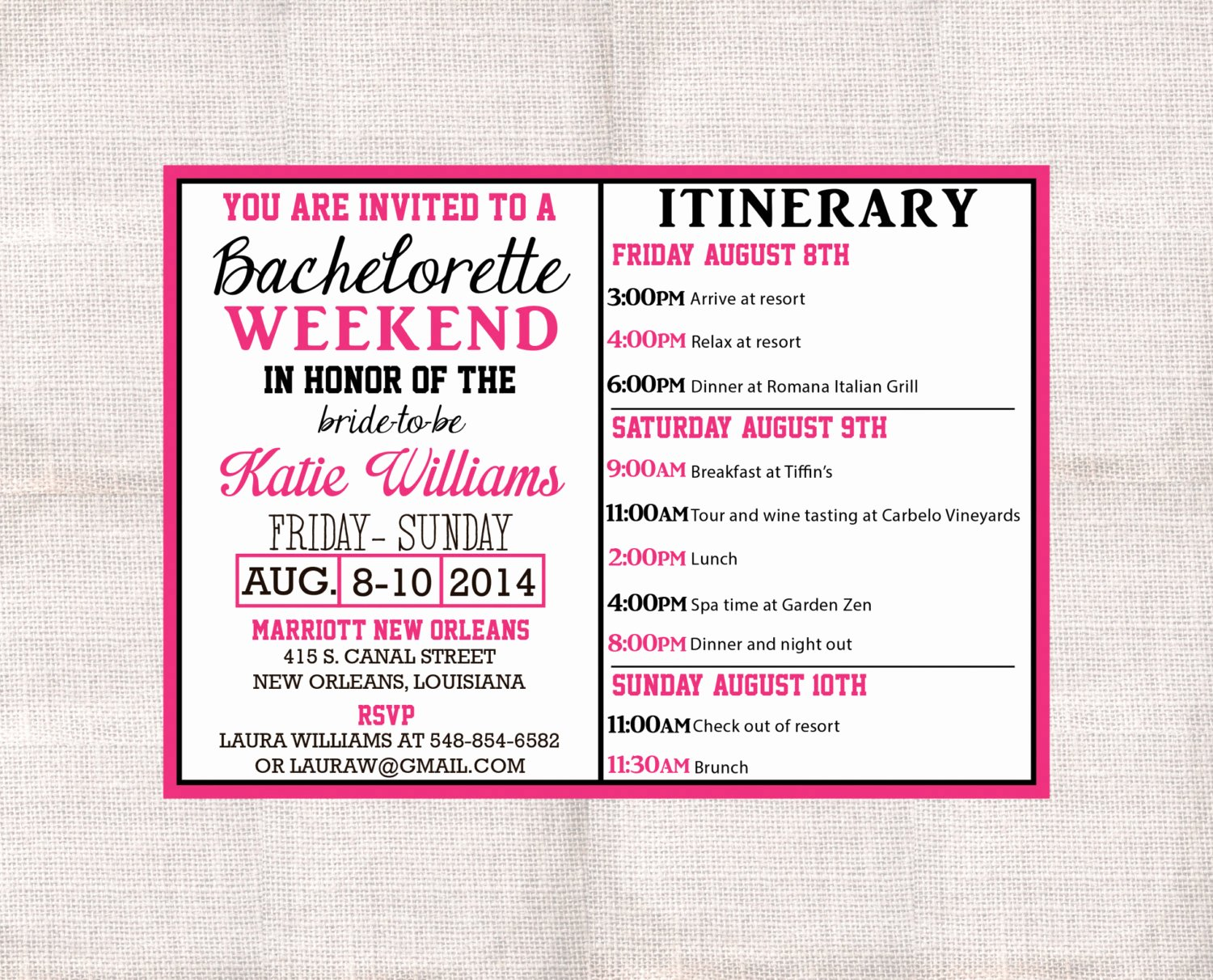 Bachelorette Party Itinerary Template Beautiful Bachelorette Party Weekend Invitation and Itinerary Custom
