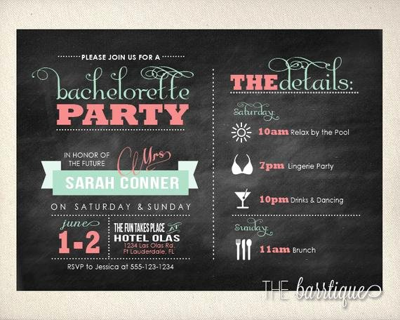 Bachelorette Party Itinerary Template Elegant Bachelorette Party Night Weekend Itinerary Modern Invitations