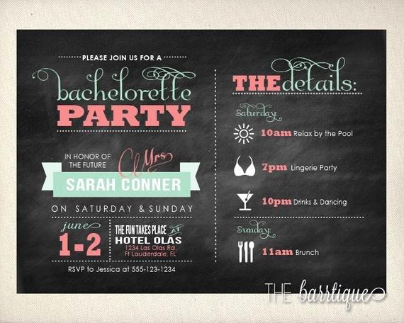 Bachelorette Party Itinerary Template Elegant Bachelorette Party Night Weekend Itinerary Modern Invitations