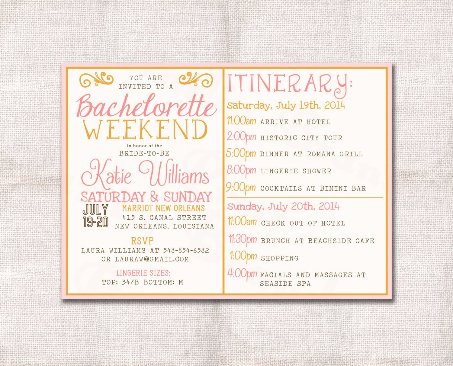 Bachelorette Party Itinerary Template Elegant Bachelorette Party Weekend Invitation and Itinerary Custom