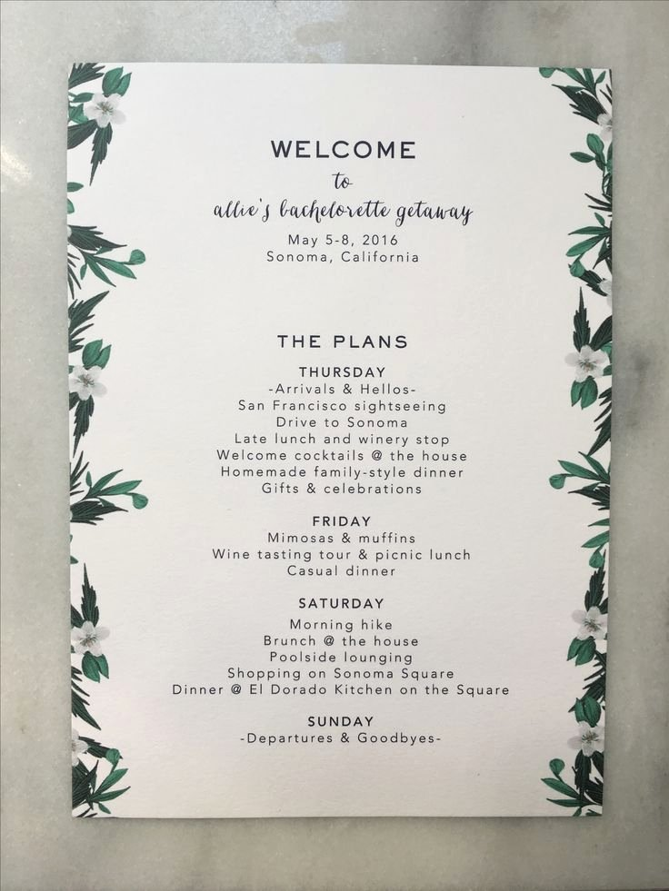 Bachelorette Party Itinerary Template Lovely Bachelorette Itinerary Copywriting and Layout by Anastasia Valocchi … Bachelorette