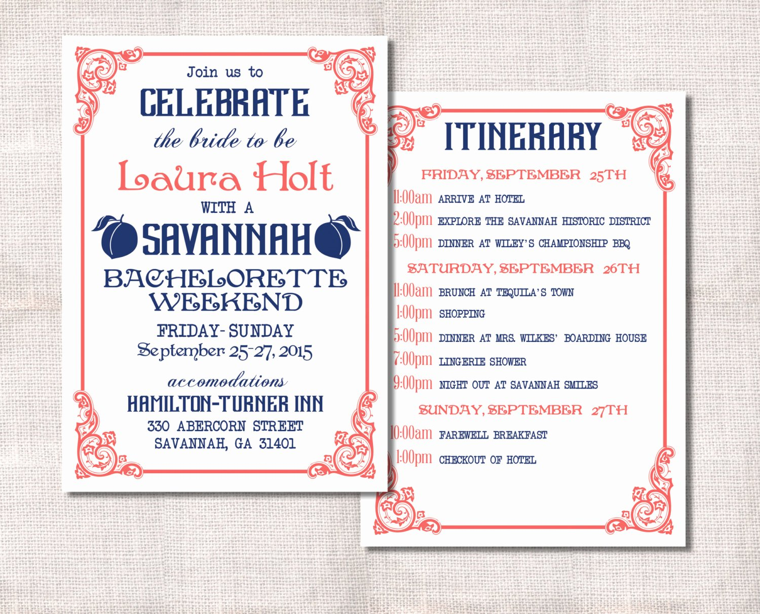 Bachelorette Party Itinerary Template Lovely Bachelorette Party Weekend Invitation and Itinerary Custom