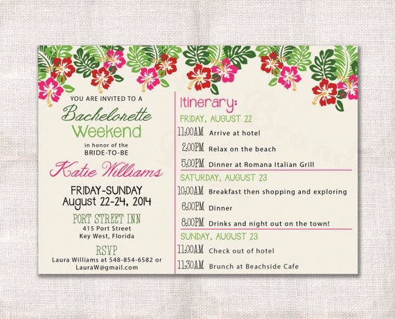 Bachelorette Party Itinerary Template Luxury Bachelorette Party Weekend Invitation and Itinerary Custom