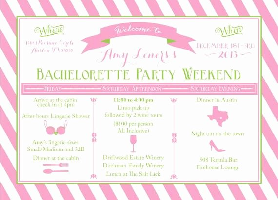 Bachelorette Party Itinerary Template Luxury Items Similar to Printable Bachelorette Weekend Itinerary Birthday Weekend Girls Weekend