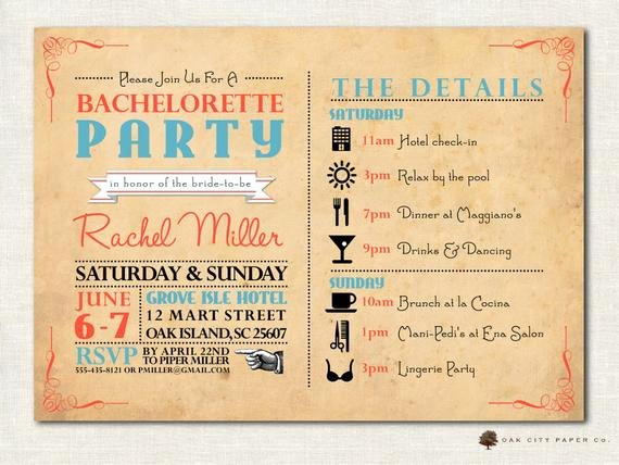 Bachelorette Party Itinerary Template New Bachelorette Invitation Bachelorette Party Invitation