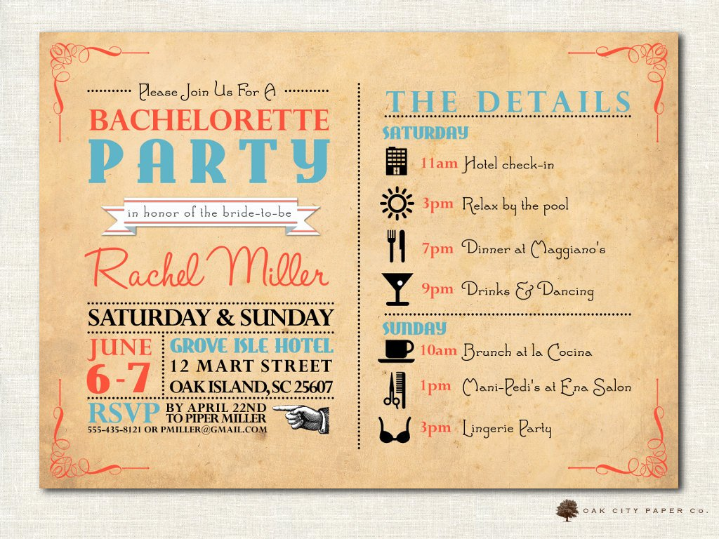 Bachelorette Party Itinerary Template Unique Bachelorette Invitation Bachelorette Party Invitation