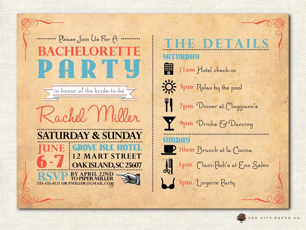 Bachelorette Party Itinerary Template Unique Bachelorette Invitation Bachelorette Party Invitation