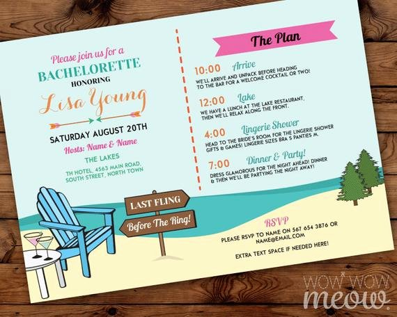 Bachelorette Party Itinerary Template Unique Bachelorette Invite Itinerary Girls the Lakes Invitation