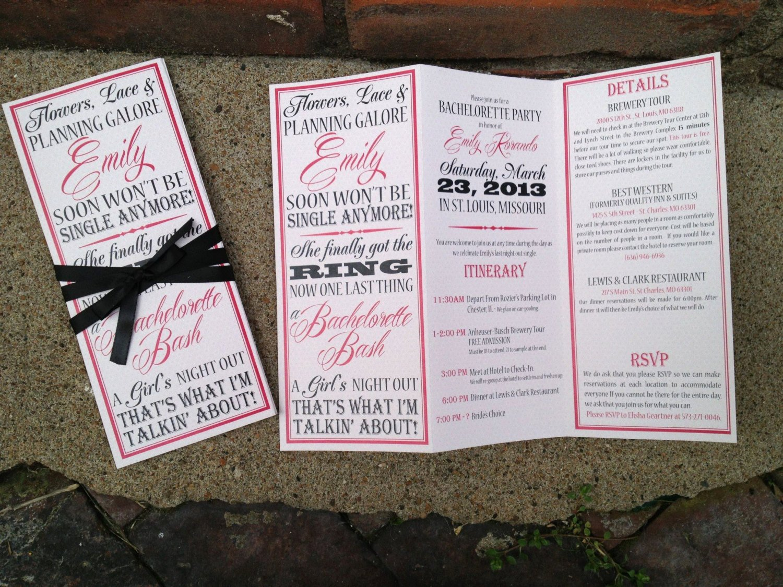 Bachelorette Party Itinerary Template Unique Bachelorette Party Invite Trifolded Itinerary
