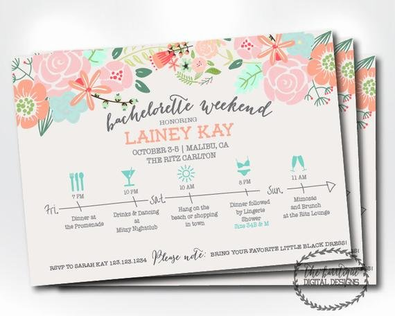 Bachelorette Party Itinerary Template Unique Bachelorette Party Itinerary Invitation Bachelorette Weekend