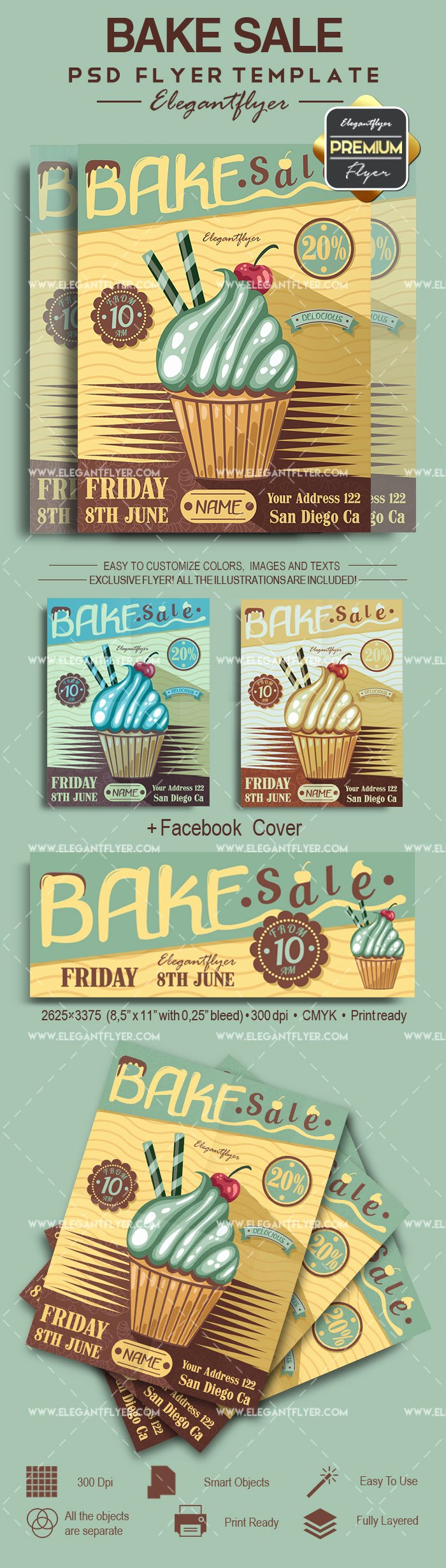 Bake Sale Flyer Template Awesome Bake Sale Psd Poster – by Elegantflyer