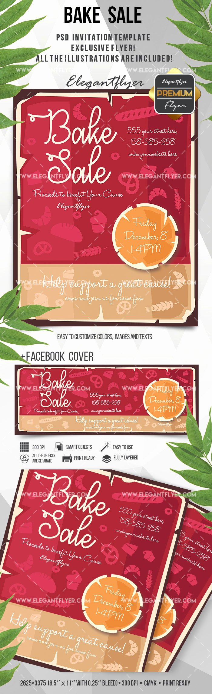 Bake Sale Flyer Template Fresh Bake Sale Poster – by Elegantflyer