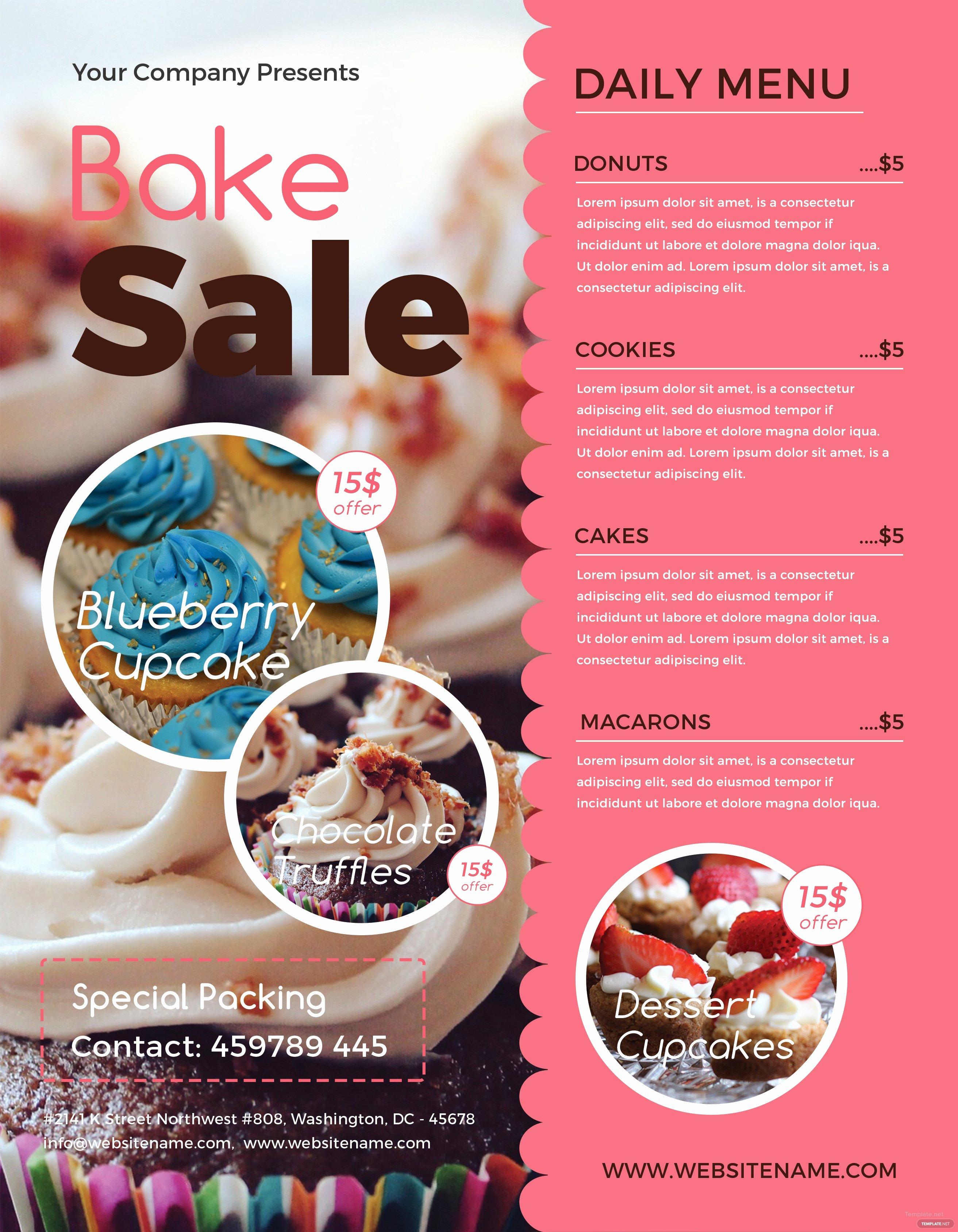 Bake Sale Flyer Template Word Beautiful Free Bake Sale Flyer Template In Adobe Shop Illustrator Microsoft Word Publisher Apple